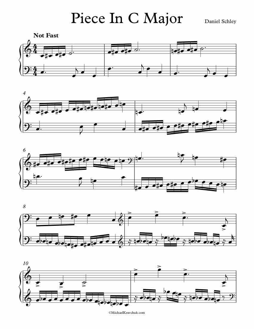 Free Piano Sheet Music - Piece In C Major - Schley