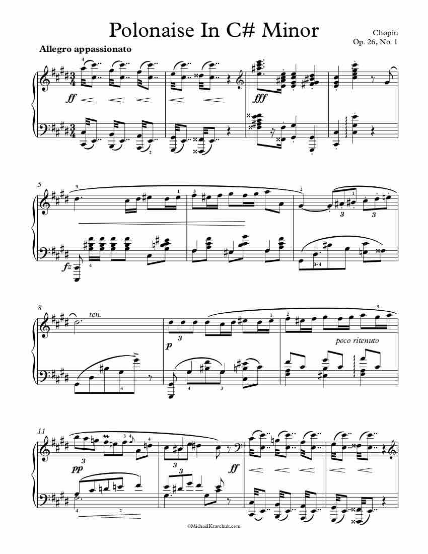 Free Piano Sheet Music - Polonaise In C# Minor - Op. 26, No. 1 - Chopin