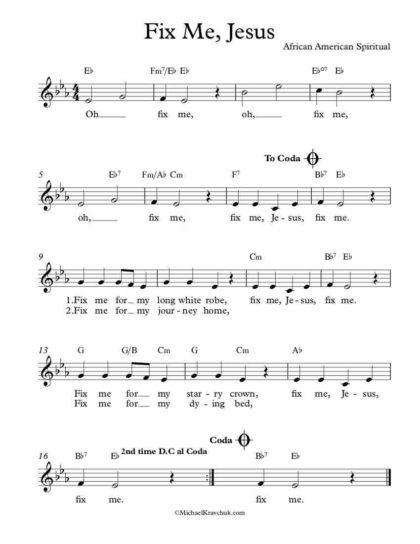 Free Lead Sheet – Fix Me, Jesus
