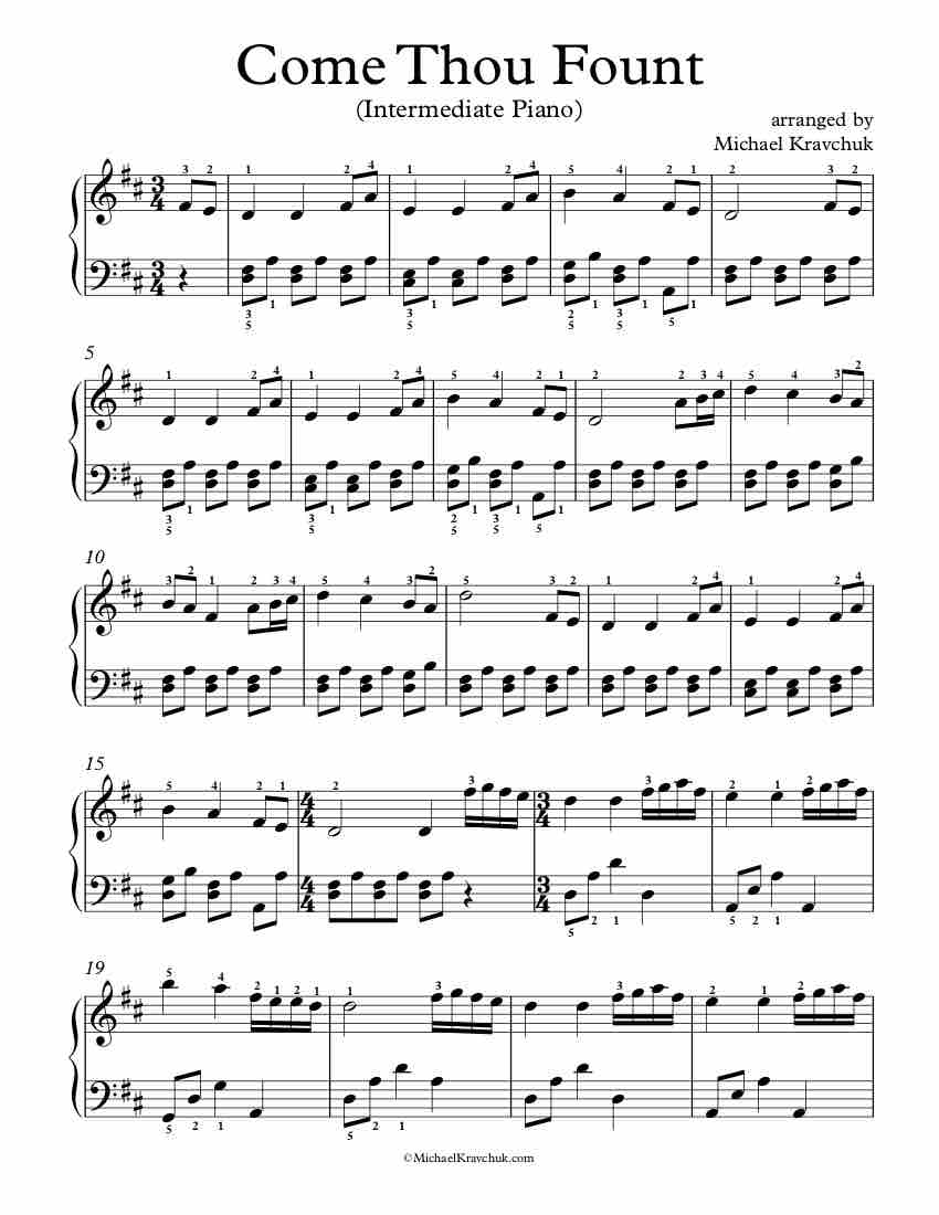 Level 4 - Free Piano Arrangement Sheet Music - Come Thou Fount of Every Blessing