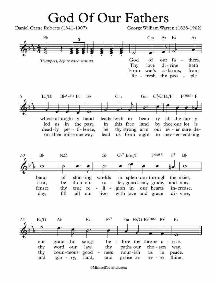 Free Lead Sheet – God Of Our Fathers