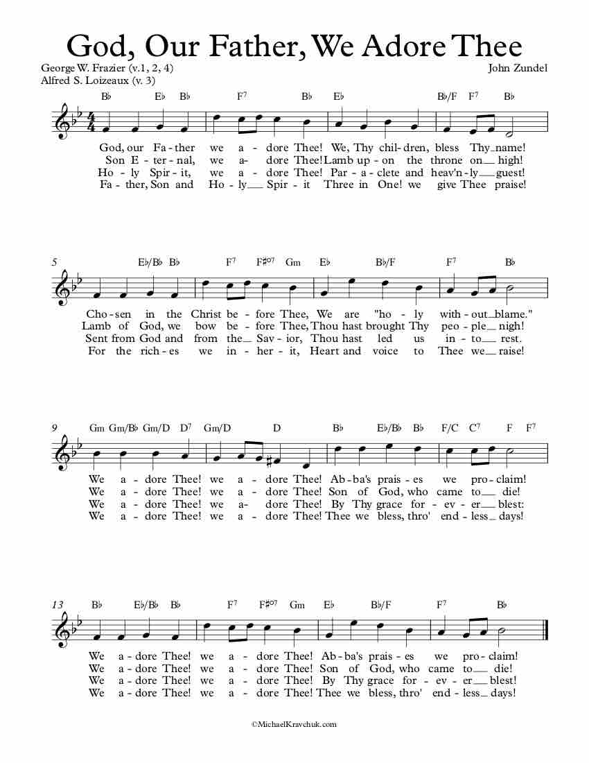 Free Lead Sheet – God, Our Father, We Adore Thee