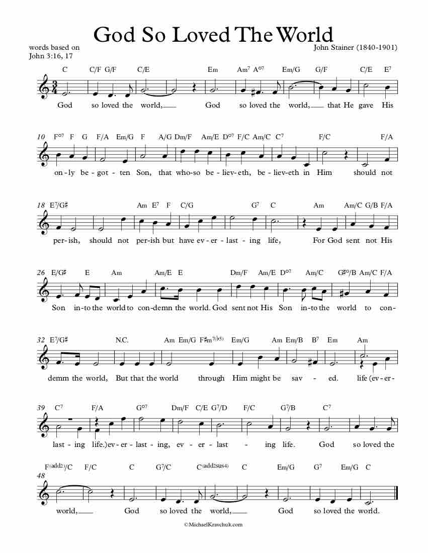 Free Lead Sheet – God So Loved The World