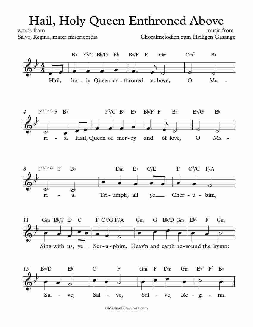 Free Lead Sheet - Hail, Holy Queen Enthroned Above
