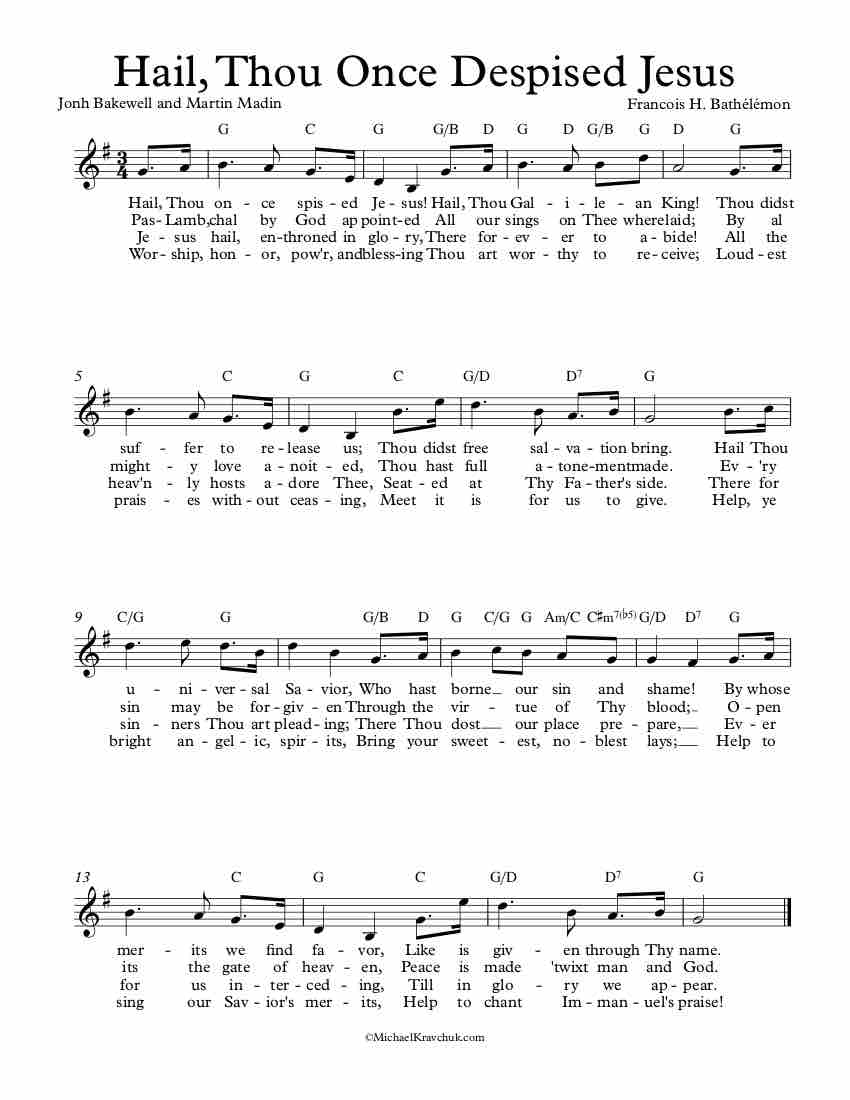 Free Lead Sheet - Hail, Thou Once Despised Jesus (Autumn)
