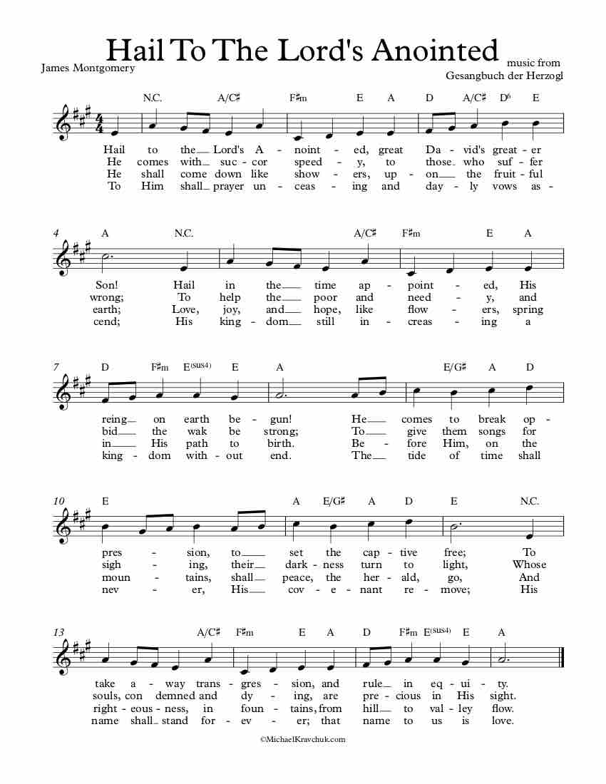 Free Lead Sheet - Hail To The Lord's Anointed(Ellacombe)
