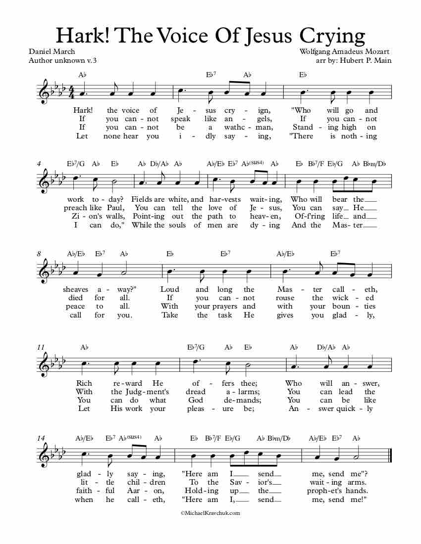 Free Lead Sheet – Hark! The Voice Of Jesus Crying