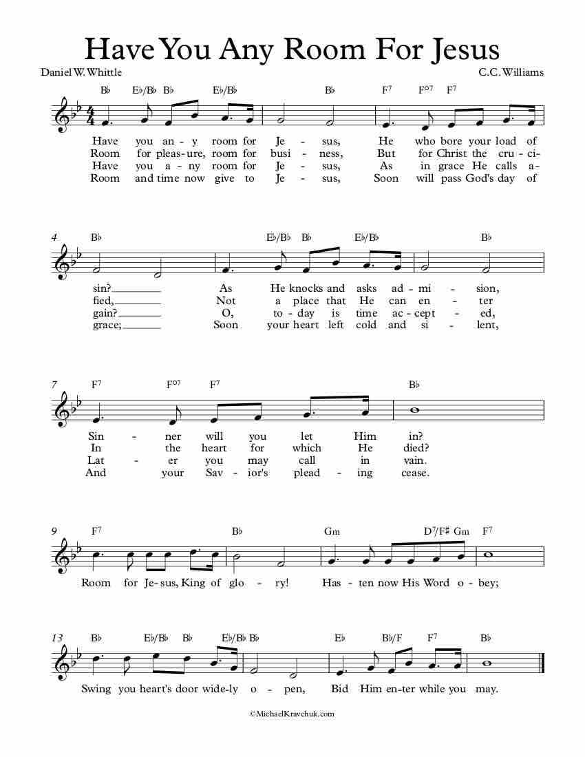 Free Lead Sheet – Have You Any Room For Jesus