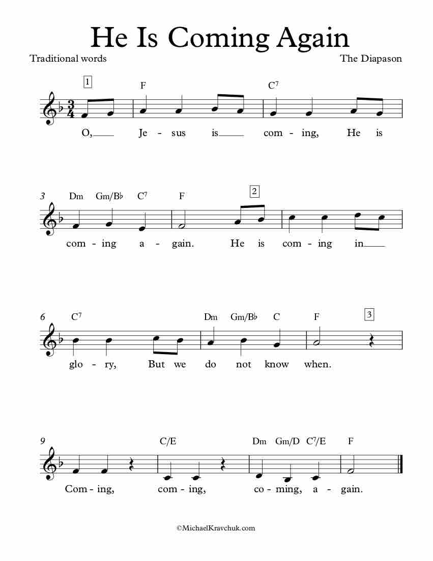 Free Lead Sheet – He Is Coming Again