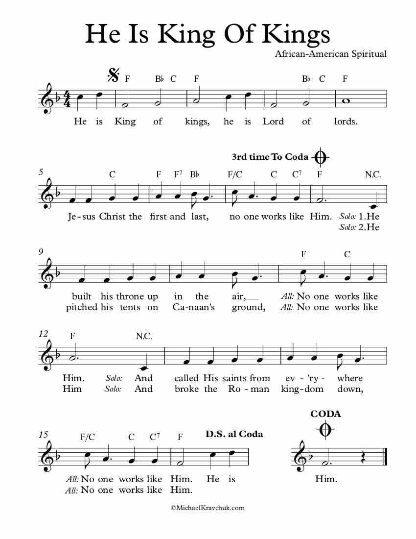Free Lead Sheet – He Is King Of Kings