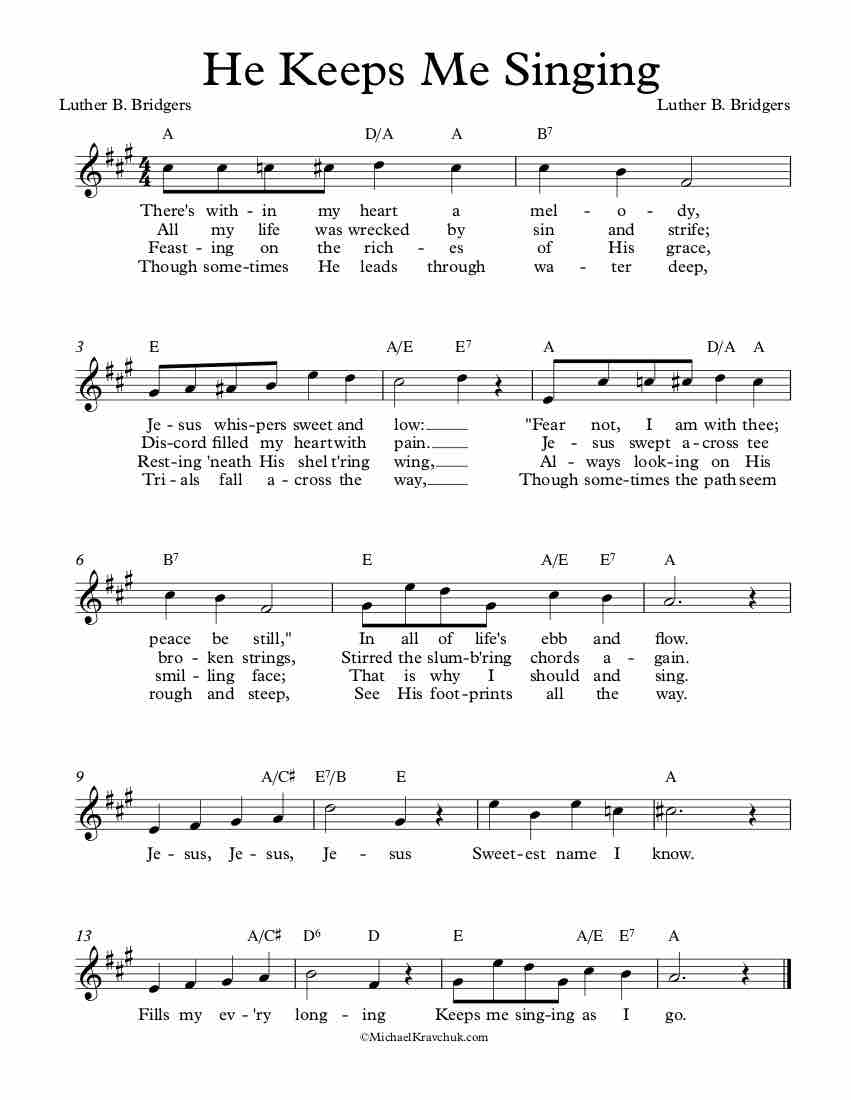 Free Lead Sheet – He Keeps Me Singing