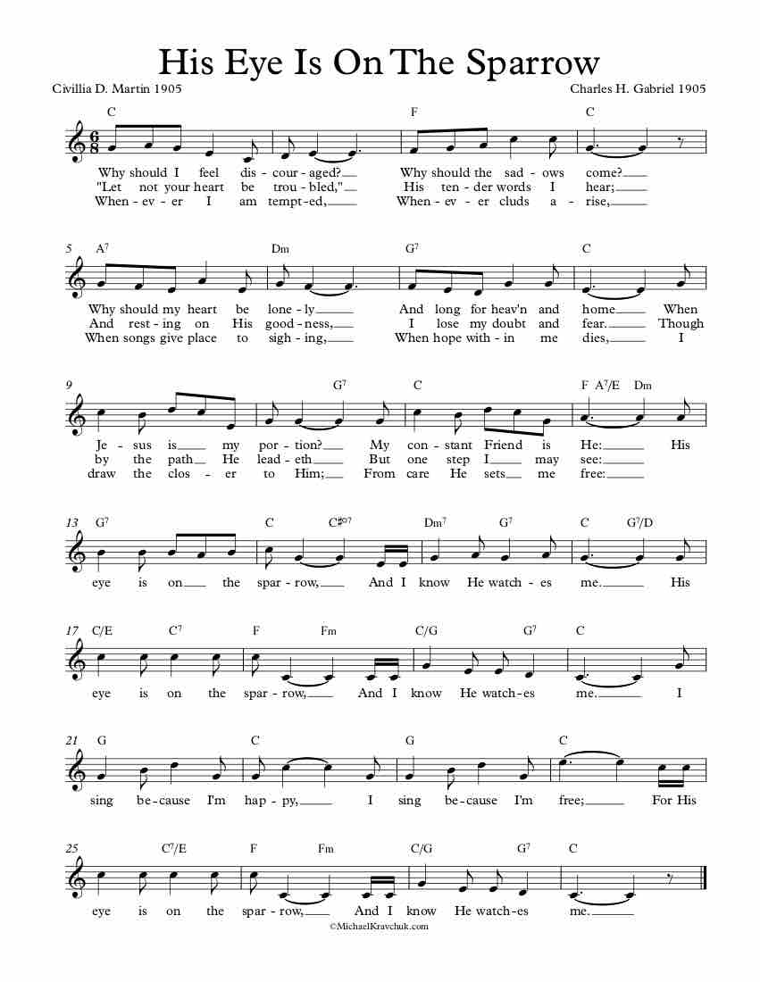 Free Lead Sheet - His Eye Is On The Sparrow