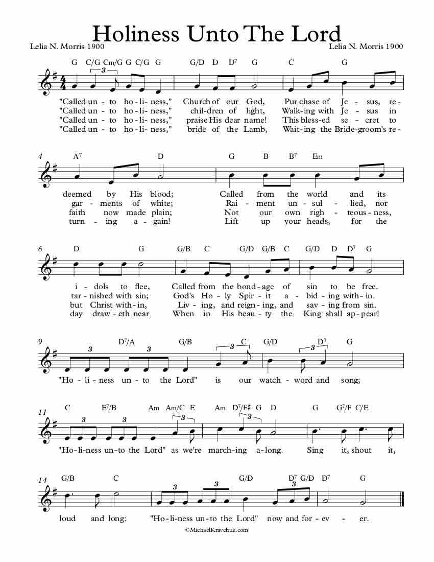 Free Lead Sheet – Holiness Unto The Lord