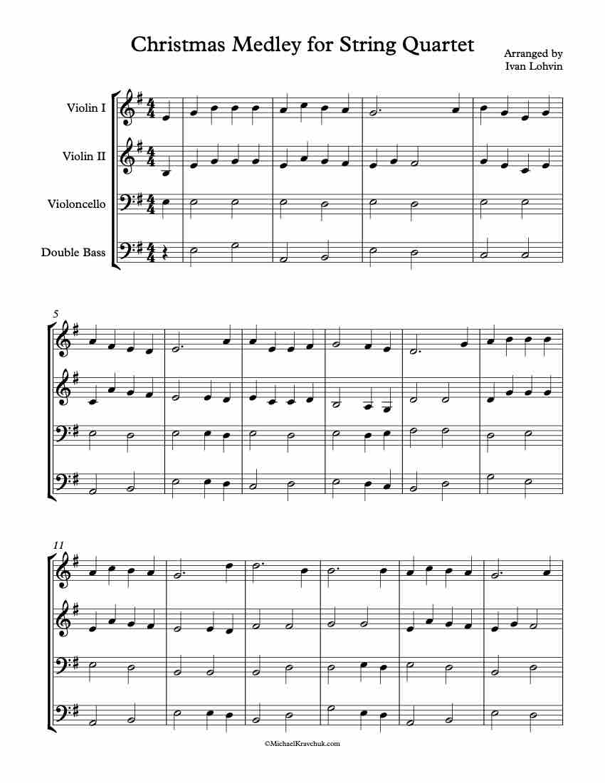 Christmas Medley For 2 Violins, Cello and String Bass - Lohvin
