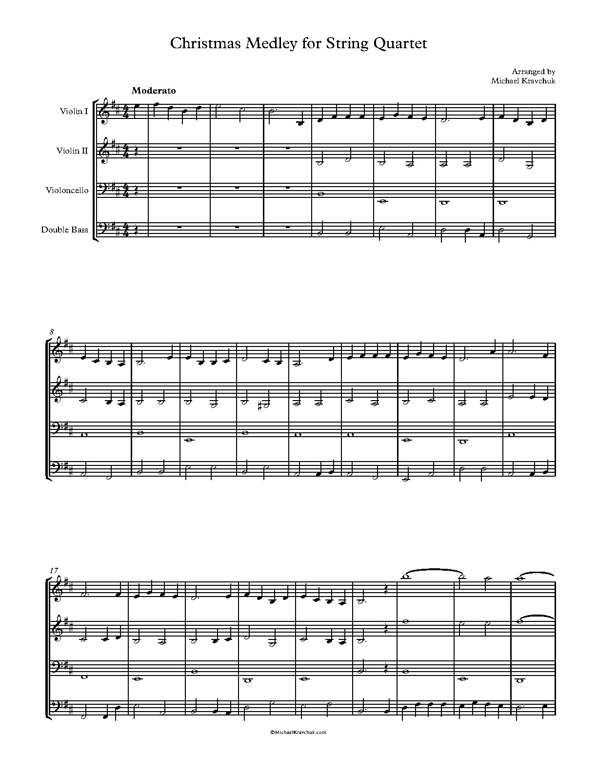 Christmas Medley For 2 Violins, Cello and String Bass - Kravchuk