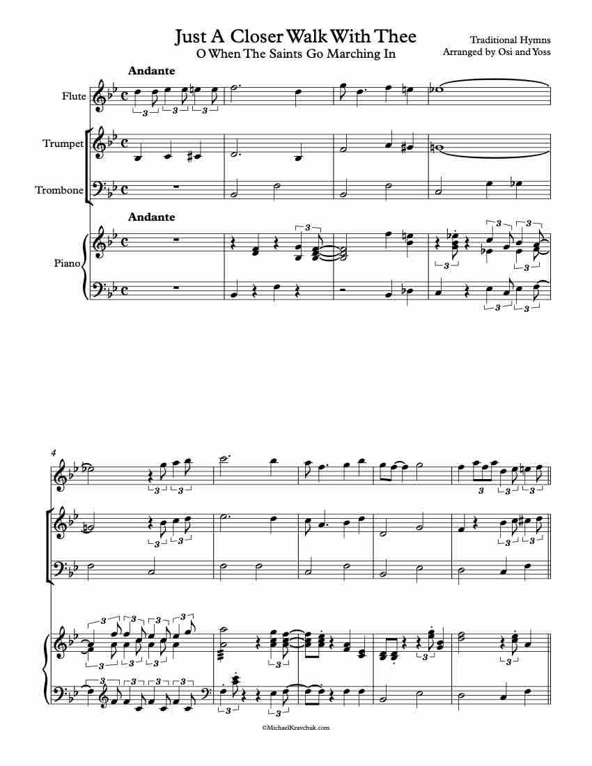 Free Sheet Music - Praise Band - Just A Closer Walk With Thee - O When The Saints Go Marching In
