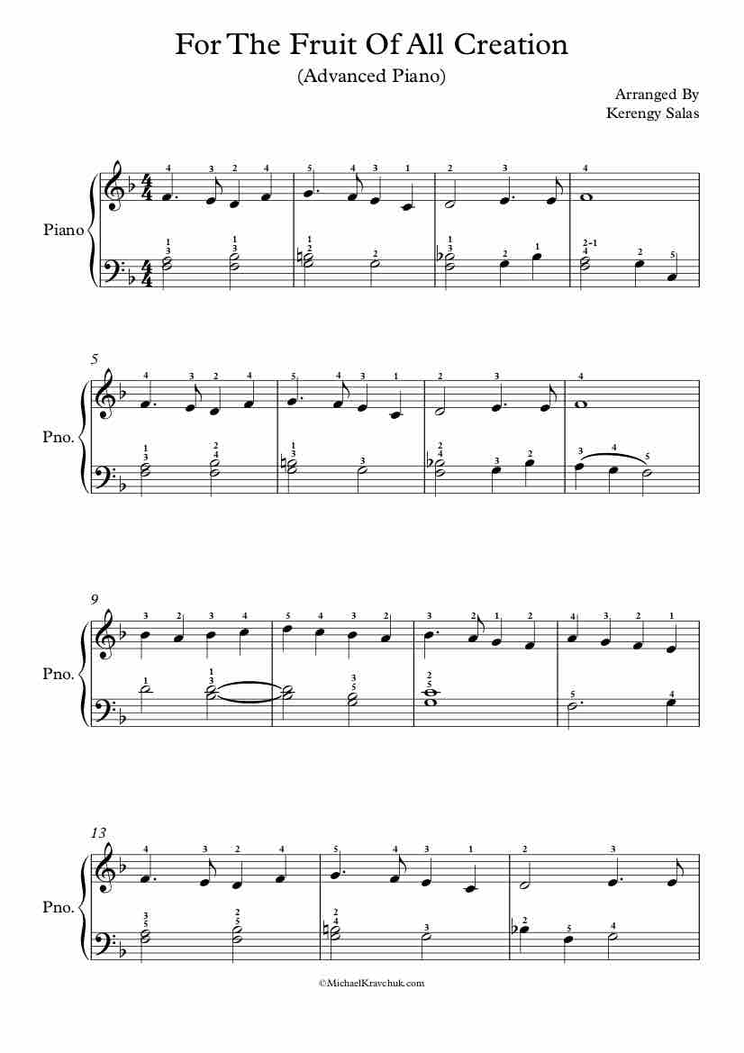 Free Piano Arrangement of For the Fruit of His Creation