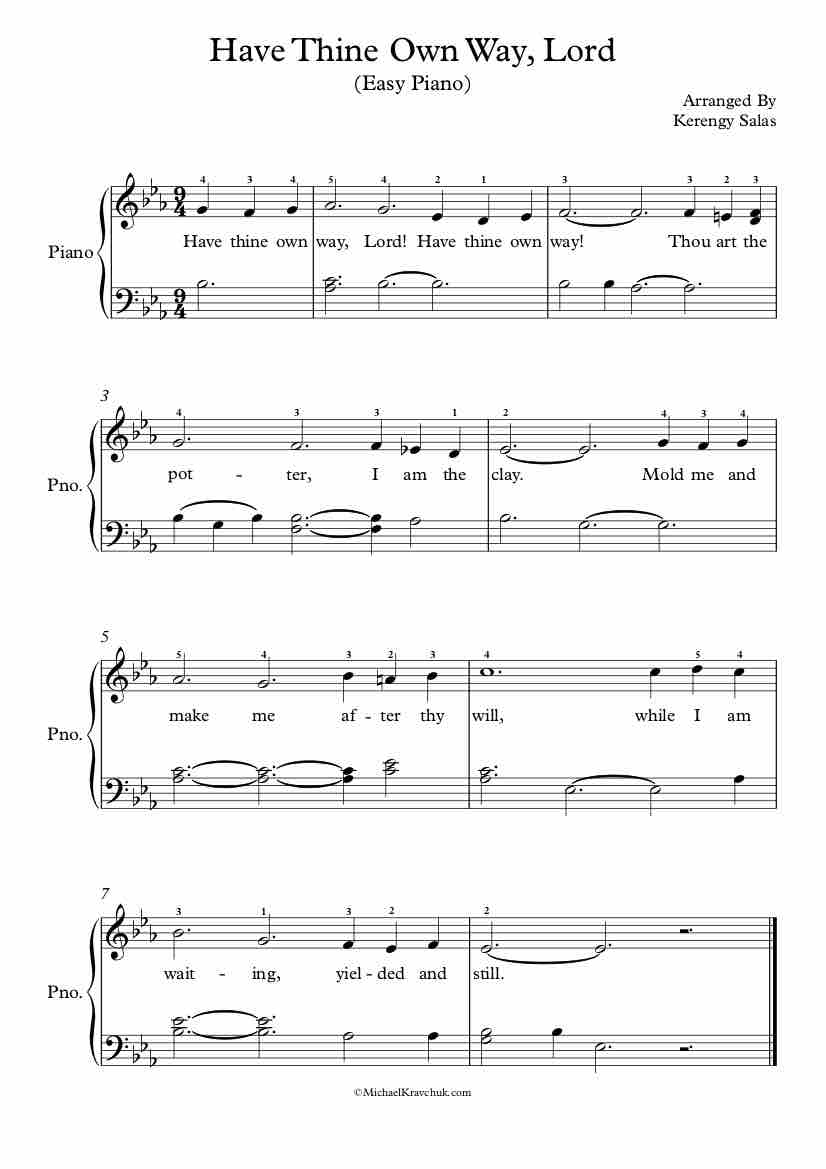 Free Piano Arrangement of Have Thine Own Way, Lord