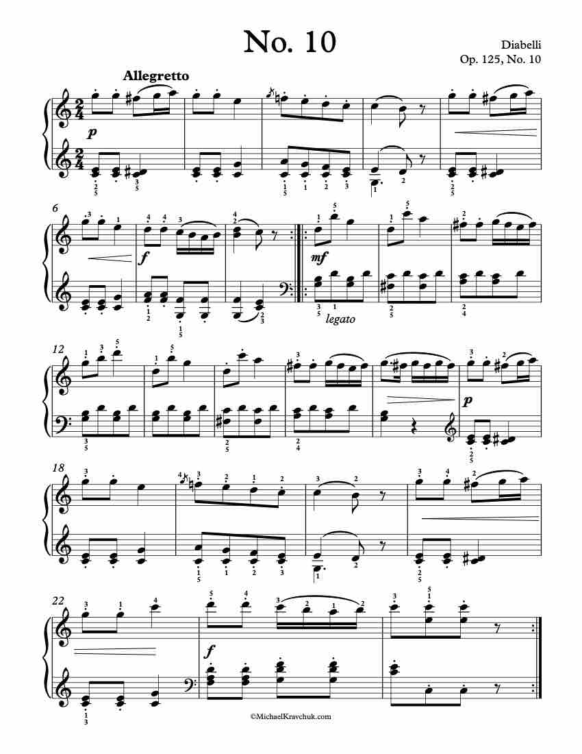 12 First Lessons Op. 125, No. 10 Piano Sheet Music
